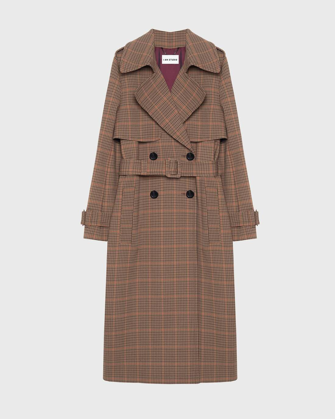 Checked trenchcoat
